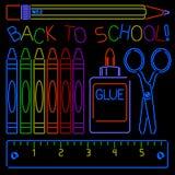 NeonBaksida-till-skola tecken Fotografering för Bildbyråer