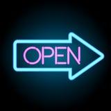 Neonbaner som är öppet med pilen, vektor Arkivbild