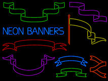 Neonbaneruppsättning Arkivbild
