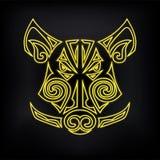 Neonbeer ` s, Varkens` s hoofd op zwarte achtergrond wordt geïsoleerd die royalty-vrije illustratie