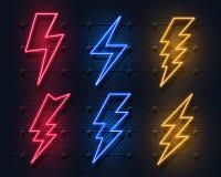 Neonblixtbult Glödande elektriskt pråligt tecken, symboler för åskviggelektricitetsmakt Vektorblixt på svart vektor illustrationer