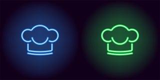 Neonchefhut in der blauen und grünen Farbe Lizenzfreie Stockfotografie