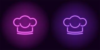 Neonchefhut in der purpurroten und violetten Farbe Stockfoto