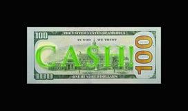 Neoncontant geld! op rekening $100 Royalty-vrije Stock Fotografie