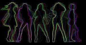 Neondansers 4k stock illustratie
