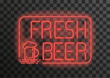 Neonemblem frais de bière sur le fond transparent Photos stock