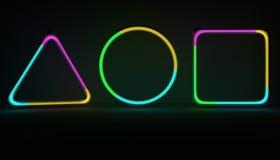 Neonformen mit Gas noice nach innen Gasröhren der Illustration 3D mit Mehrfarbengas stock abbildung