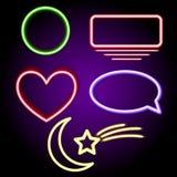 Neonformer, måne, stjärna, hjärta, bubbla Abstrakta enkla geometriska former royaltyfri illustrationer