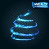 Neonglödcirklar i suddiga kanter för rörelse, magiskt träd för ljust glödilsken blickglöd, jul Abstrakta glödande cirklar saktar  Royaltyfri Fotografi