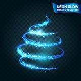 Neonglühen kreist in Bewegung unscharfen Rändern, magischer Glühenbaum, helle blaue Farbe des Weihnachtsdesigns ein Abstrakte glü Lizenzfreies Stockfoto