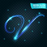Neonglühenlinie in der Bewegung verwischte Ränder, die blitzenden Buchstaben, magischer, bunter Designfeiertag Abstrakte glühende Stockbild