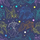 Neongoudvis over Diepe Blauwe Achtergrond Naadloos Vectorpatroon voor Textiel of Boekdekking, Productie, Behang, Druk, stock illustratie