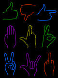 Neonhände Lizenzfreies Stockbild