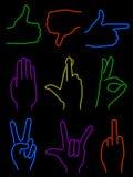 Neonhänder Royaltyfri Bild
