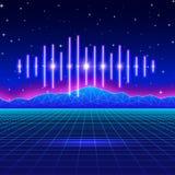 Neonhintergrund des Retro- Spiels mit glänzender Musikwelle Stockbilder