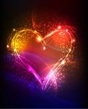 Neonhjärtabakgrund vektor illustrationer