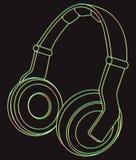 Neonhoofdtelefoons Vector illustratie Stock Fotografie