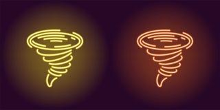 Neonikone des gelben und orange Tornados stock abbildung