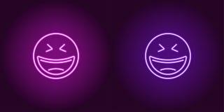 Neonillustratie van het lachen emoji Het pictogram van toestellen stock illustratie