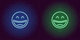 Neonillustratie van het lachen emoji Het pictogram van toestellen royalty-vrije illustratie