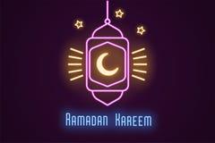 Neonillustratie van Ramadan Kareem Vectorneon stock illustratie