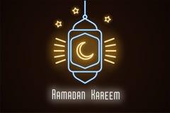 Neonillustratie van Ramadan Kareem Vectorneon royalty-vrije illustratie