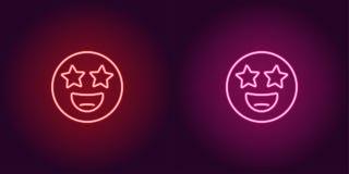 Neonillustration des Sternes schlug emoji Vektorikone vektor abbildung