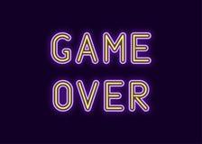 Neoninschrijving van Spel over Vector royalty-vrije illustratie