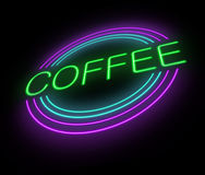 Neonkaffeezeichen. Stockbild