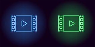 Neonkinofilm in der blauen und grünen Farbe Lizenzfreie Stockfotos
