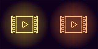 Neonkinofilm in der gelben und orange Farbe Stockfotografie