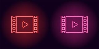 Neonkinofilm in der roten und rosa Farbe Lizenzfreie Stockfotos