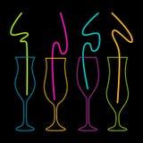 Neonkleuren op een zwarte achtergrondcocktail party vectorillustratie Stock Foto's