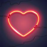 Neonlampa heart-02 Royaltyfria Bilder