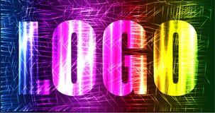 Neonlaser-Regenbogenlogozeichen Stockbild