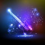 Neonleuchtegitarre lizenzfreie abbildung
