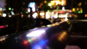 Neonleuchten in einem Geländer Stockbilder