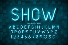 Neonlicht 3d alfabet, extra gloeiende doopvont Stock Afbeeldingen