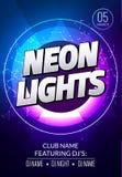 Neonlicht-Parteimusikplakat Tiefe Musik des elektronischen Vereins Musikalischer Ereignisdisco-Tranceton Nachtparteieinladung DJ- Lizenzfreie Stockfotografie