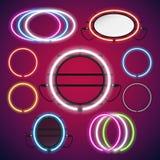 Neonlichten om Geplaatste Kaders Stock Afbeelding