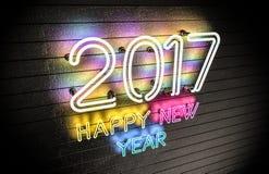 Neonlichter des guten Rutsch ins Neue Jahr 2017 Stockbild