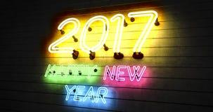 Neonlichter des guten Rutsch ins Neue Jahr 2017 Lizenzfreies Stockfoto
