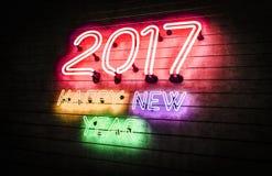 Neonlichter des guten Rutsch ins Neue Jahr 2017 Stockbilder
