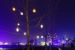 Neonlichter mit verschiedenen Formen Stockbild