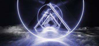 Neonlichter rauchen glühenden blaues geformtes Leuchtstoff Retro- modernes elegantes ausländisches Raumschiff-dunklen Untertageko lizenzfreie abbildung