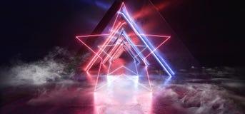 Neonlichter rauchen glühendes Purpur-Blau Dreieck Sci FI formten Leuchtstoff Retro- modernes elegantes ausländisches Raumschiff-d vektor abbildung