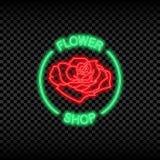 Neonlichtteken van bloemwinkel Gloeiend en glanzend helder uithangbord voor het embleem van de bloemopslag Vector stock illustratie