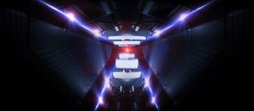 Neonlinien auf einem dunklen Hintergrund Raumhintergrund, Lichter sperren Einheiten Abstrakter Neonhintergrund, kosmische Tunnels stockfoto