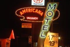 Neonljus för det billiga motellet, Las Cruces, NM royaltyfria foton