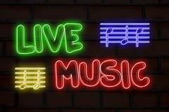 Neonljus för levande musik vektor illustrationer
